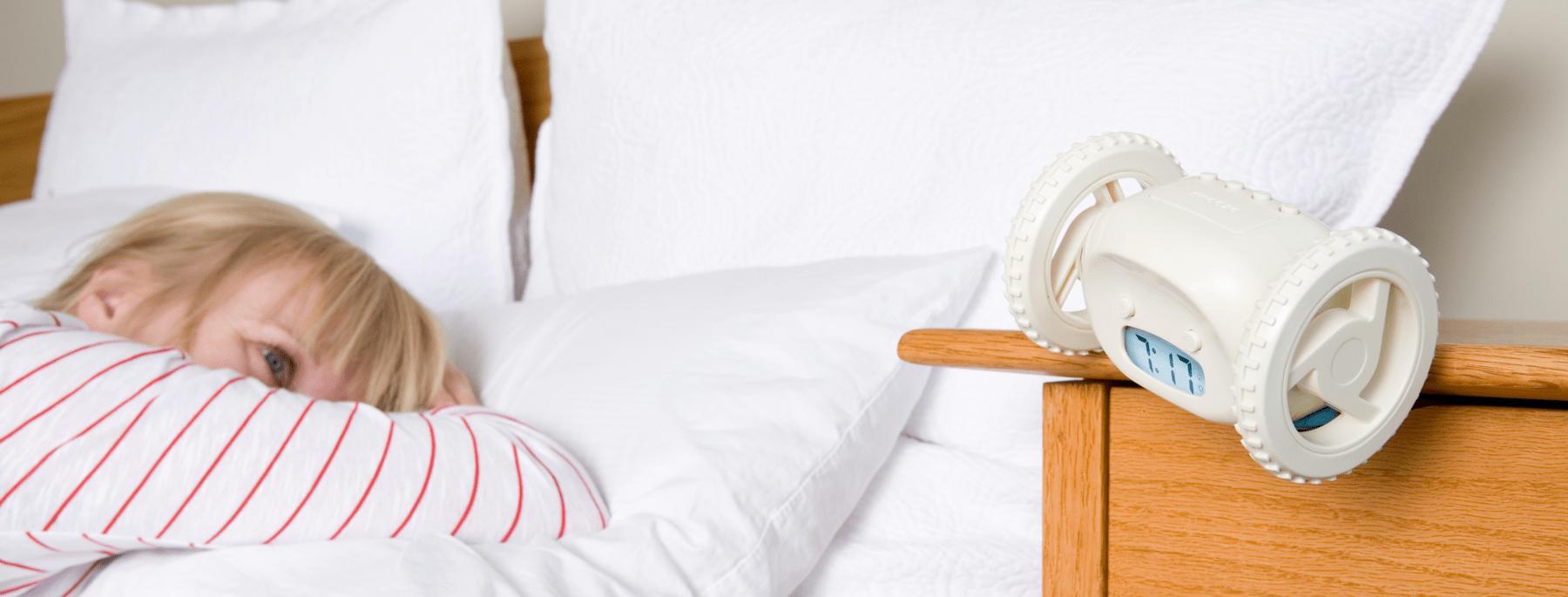 the clocky alarm clock on wheels